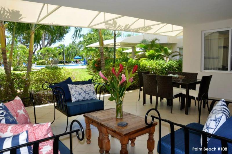Patio for outdoor dining and relaxing while enjoying the views - Luxury Palm Beach apt, pool gym walk to amenities - Hastings - rentals