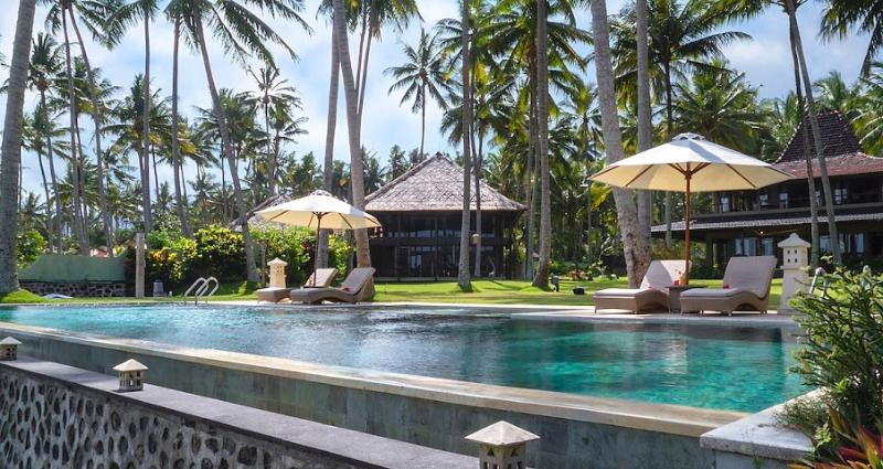 both villas from the pool - Citakara Sari estate-2 oceanfront villas,tennis - Candidasa - rentals