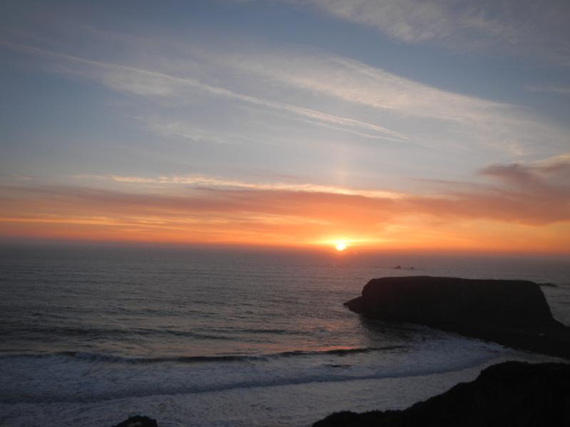 Sunset over Goat Rock isthmus taken from the road in front of property - Oceanfront Gem w/ Stunning Panorama, Goat Rock SB - Bodega Bay - rentals
