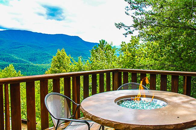 Outdoor Gas Fire Pit on Upper Deck - Mountain views and table top firepit on deck! - Gatlinburg - rentals