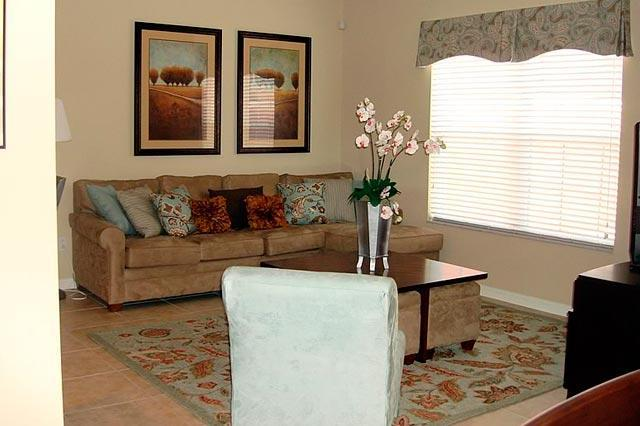 Completely furnished living room with great sofa and extra cushions - Amazing VIPORLANDO Villa at Paradise Palms -  Coco 4gr01 - Four Corners - rentals