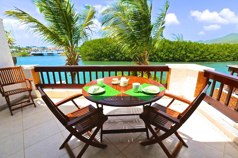 Terrace overlooking the lagoon - Jade View Duplex directly on  lagoon - Simpson Bay - rentals