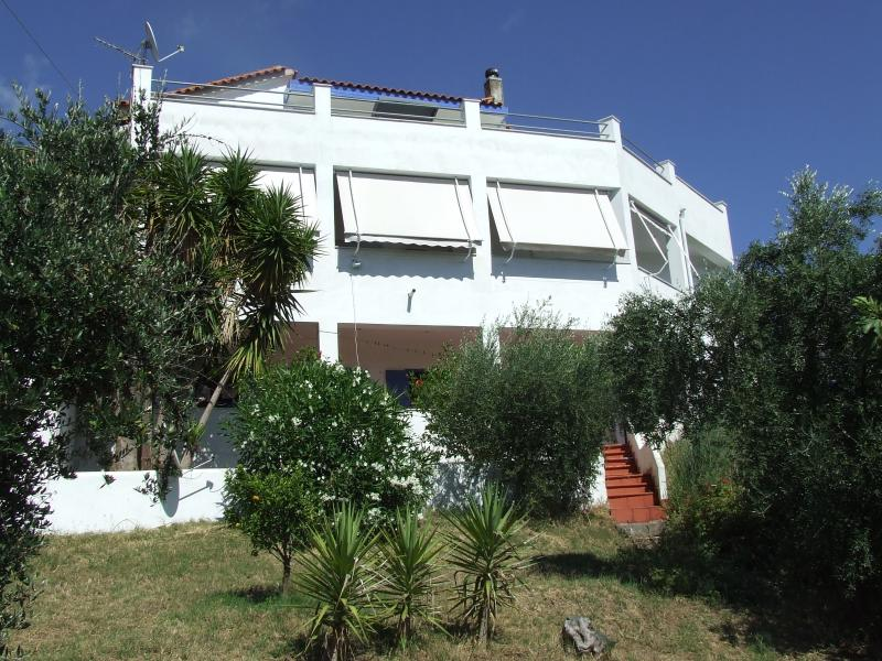 Villa Elleftheria from the 1000m2 garden - Villa Elleftheria with Super Sea Views - Sleeps 11 - Kakovatos - rentals