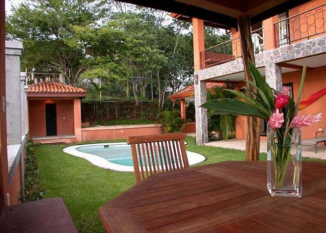 Backyard- Pool - Spacious home in the hills- ocean view, internet, pool, easy walk to town - Tamarindo - rentals