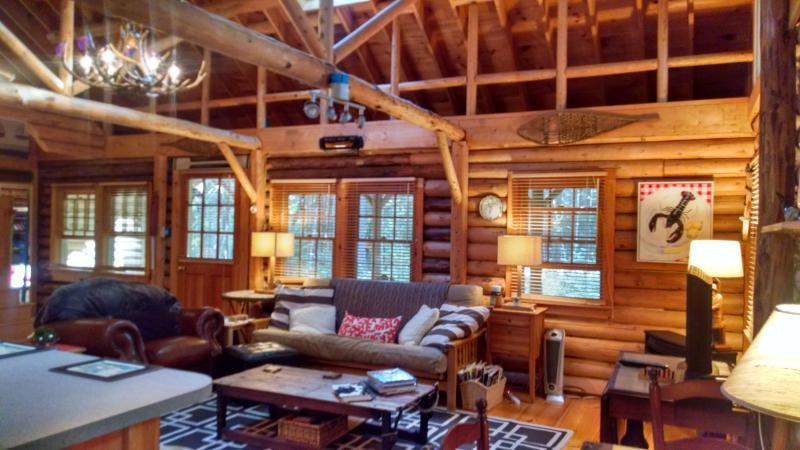Open Living Space with sky lights - Cedar Log Cabin in Boothbay Harbor, Maine - Boothbay Harbor - rentals