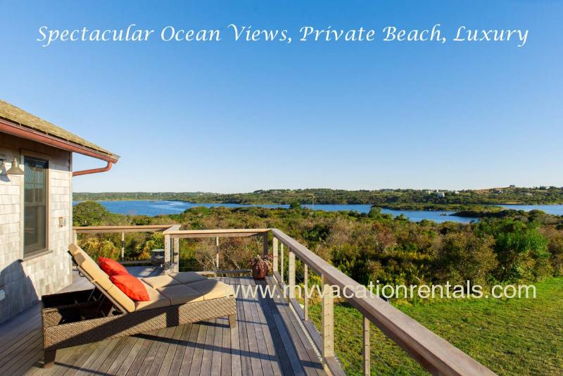 One of many pond and ocean vistas from the wraparound deck. this view is of Squibnocket Pond, - SAWYW - Squibnocket Farm Oceanviews,  Private Beaches, Designer Luxury throughout, Private  Gated Community - Chilmark - rentals