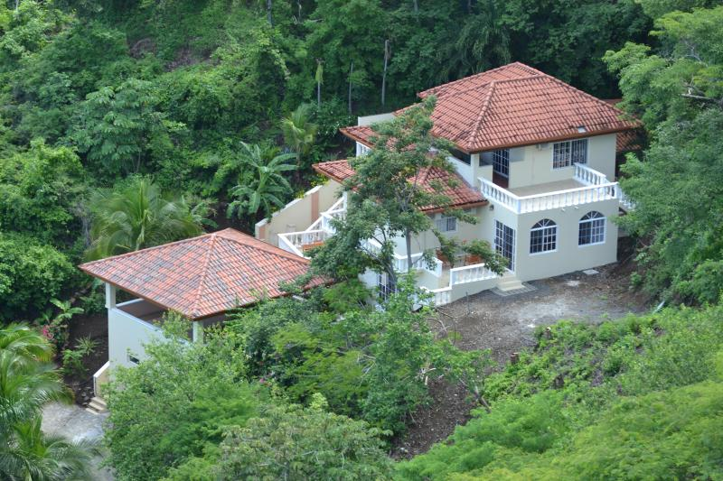 the villa from above - Villa Del Cielo--minutes to the beach and beautiful ocean views--your vacation in sunny,lovely Playa Hermosa, Costa Rica!! - Playa Hermosa - rentals