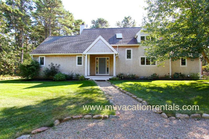 Entry Side of House - REIDK - Meadow View Beauty - Association Tennis, Miles of Bike Paths, 5 Min Drive to Town and Beach, Wifi - Vineyard Haven - rentals