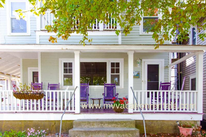 Front of House with Wrap Around Porch - MILTD - 1 Block to Beach, Wifi Internet, Linens Provided, A/C - Oak Bluffs - rentals