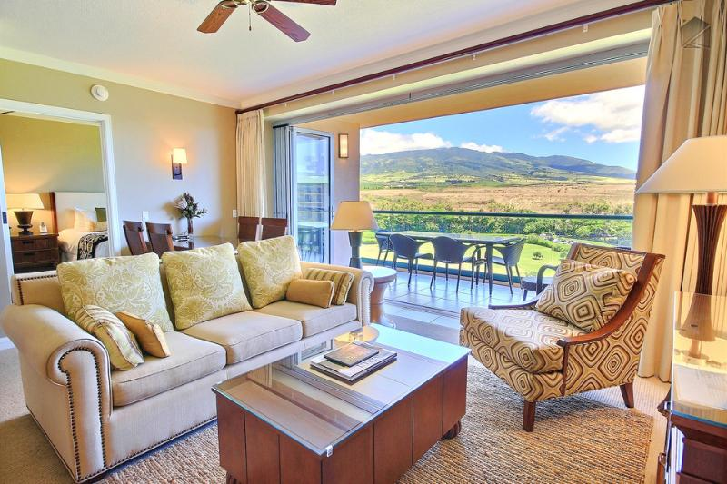 The bright and spacious living room has a queen size sofa sleeper for extra guests. - Beachfront Luxury Condo at Honua Kai, **5-Star Reviews**. Come Be Our Guest! - The Nunui at 616 Konea - Ka'anapali - rentals