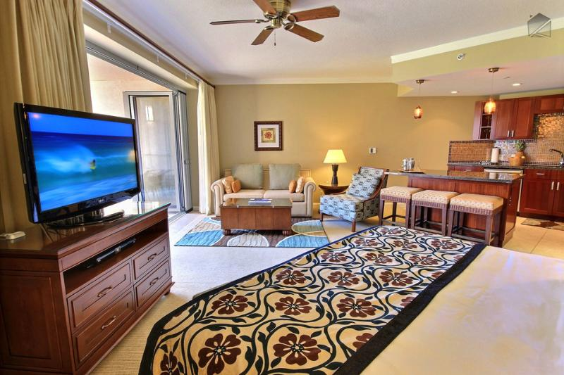 Swivel the TV towards the couch or the bed. - Beachfront with Luxury Hotel Amenities at Maui's #1 Resort, Kitchen & More Space - The Leilani at 331 Konea - Ka'anapali - rentals