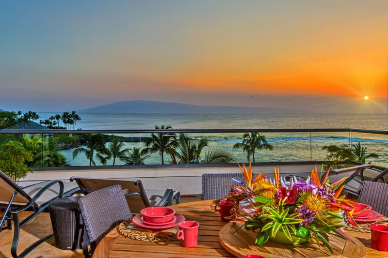 "Amazing Sunsets Year-Round From 1503 Surfrider. This is your view! Kapalua Beach and Merriman""s Oceanfront Dining are visible on the left side of this image. - Surfrider Penthouse 1503 at Montage Residences on Kapalua Beach - Kapalua - rentals"