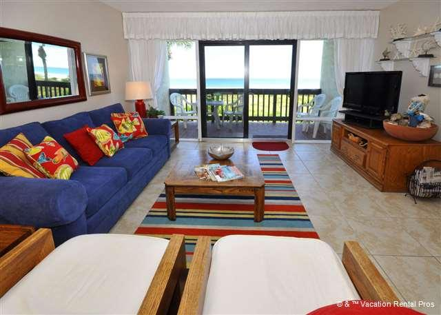 Our wonderful living room is the perfect place to regroup! - Island House A 209 Beach Front Rental, HDTV, Pool, Wifi, Beach - Saint Augustine - rentals