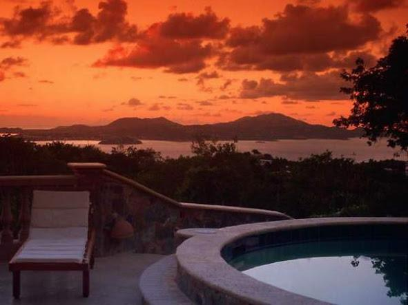 Sunset on the expansive pool terrace at Casa De Saonadores - 5 bedroom luxury, economy, best views & location! - Cruz Bay - rentals