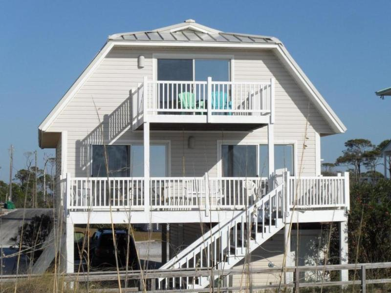 Covered and uncovered decks for beachfront viewing. - Beachfront, North Cape San Blas, pets, 3 kings - Cape San Blas - rentals