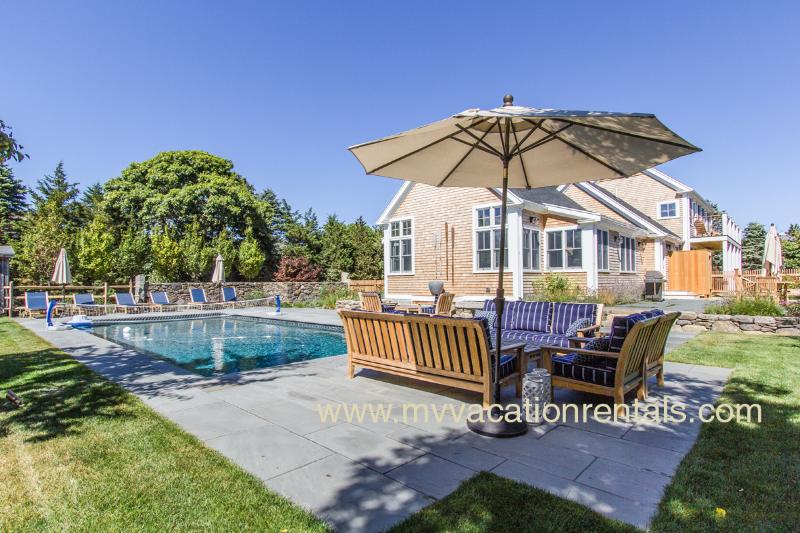 Pool, Patios, Yard and House - CHU10 - Designer Luxury Katama, Heated Pool, Bluestone Patios, Private Decks, Situated just 1 mile to South Beach and 1.5 miles to Village Area - Edgartown - rentals