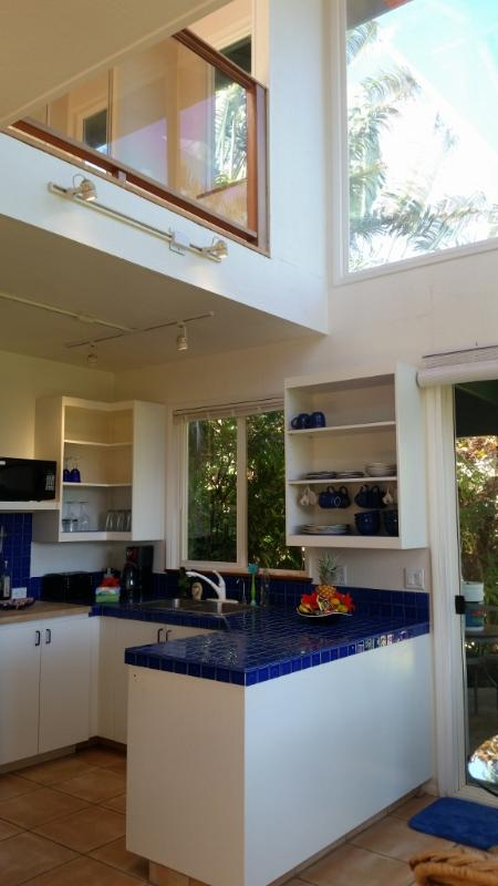 Fully equipped wet bar, with Fridge, DW, and gas burners for cooking - Rainbow Lookout - your own hideaway Maui cottage - Haiku - rentals