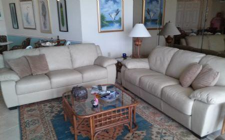 living room - Look at that fantastic beach view !  Pristine Condo in Gated Resort ! - Marco Island - rentals