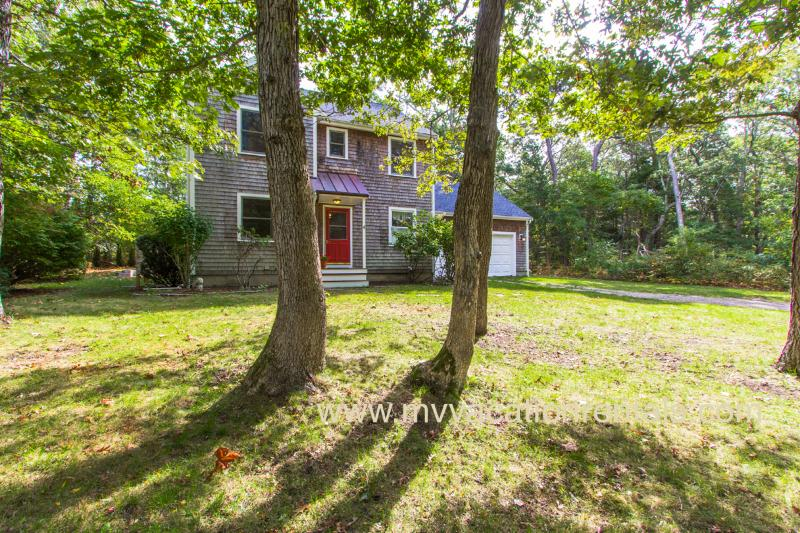 Front of House from Yard - RILEK - West Chop Area, Private Setting, Pristinely Maintained,  Walk to Grove - Vineyard Haven - rentals