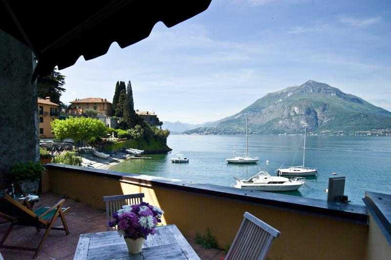 View form the terrace - Front lake view Casa Rossa Mezzanine Apartment - Varenna - rentals