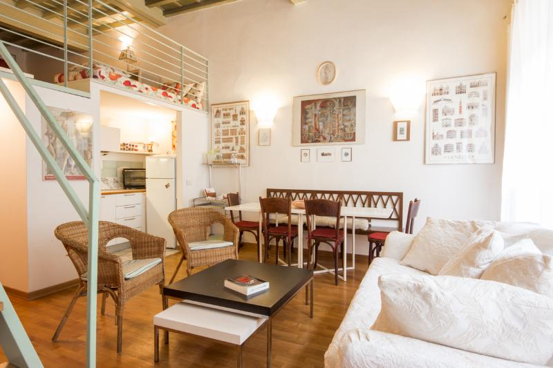 liivng/dining: the loft overlooks the living like a balcony - MAGDA:  lovely apartment  for 6, by the Duomo - Florence - rentals