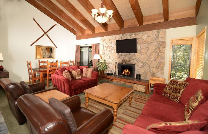 Fireside at The Village #306 Living Area With A Wood Burning Fireplace - Fireside at Village 306 - Mammoth Village Rental - Mammoth Lakes - rentals