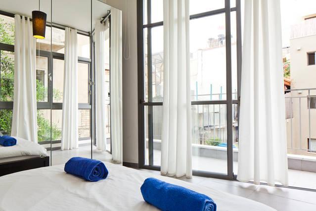 Bedroom 1 with Balcony - Beautiful Modern Apart - 4 min Beach - Tel Aviv - rentals