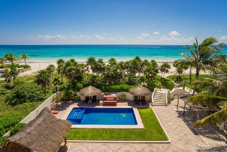 Sol Y Luna - Three story estate on beach with 15 ft by 45 ft pool & full service - Image 1 - Playa del Secreto - rentals
