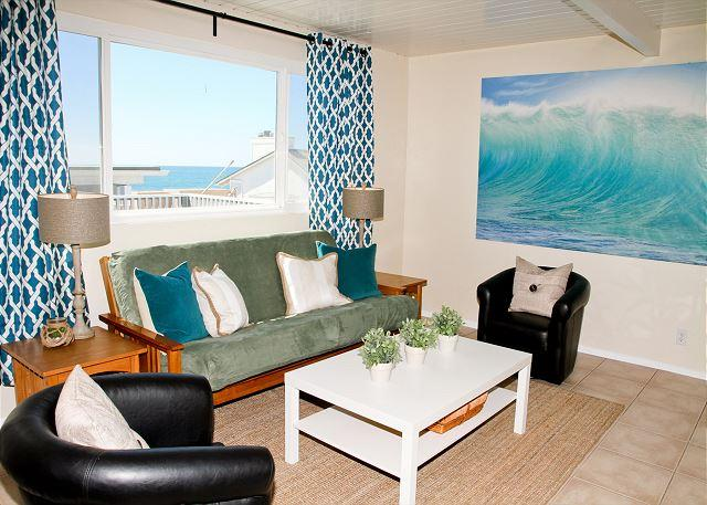 Living Room, Ocean View - Lovely beach condo w/ semi-private beach, Designer Decorated & A/C Equipped - Oceanside - rentals