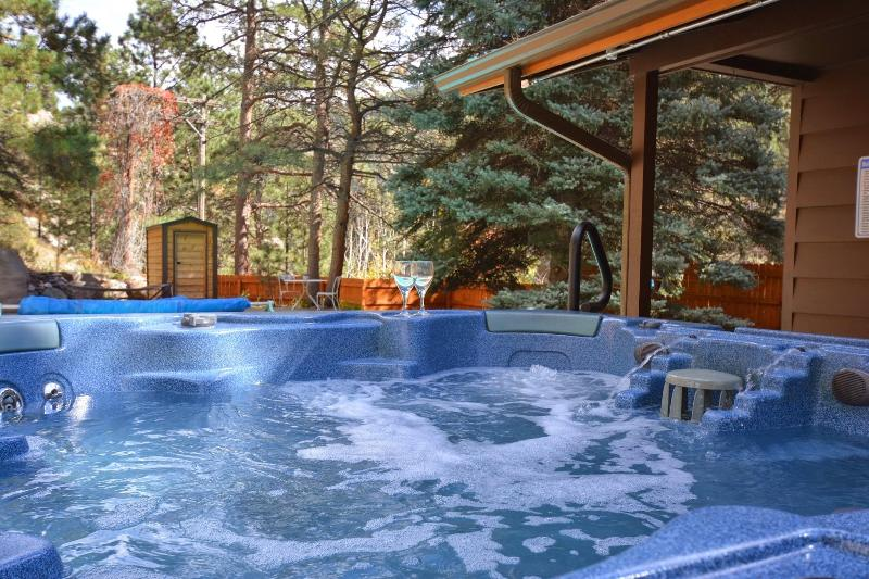 Perfect evening.  Sit in the hot tub, listen to the river and the music of Sonus Stereo outside. - Private Cabin on River - Heated Pool, Hot Tub, SPA - Estes Park - rentals