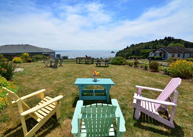 Lots of great seating outside with wonderful ocean and bay views and big yard - Buoy Bell,2 Bdrm Condo - Ocean Views, Above the Bay w/ Beach Access & Hot Tub - Trinidad - rentals
