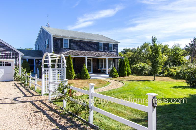 Entry Side of House - FEINJ - Contemporary Styling,   In-town Location, Private Yard Area, Screened Porch, Large Deck - Edgartown - rentals
