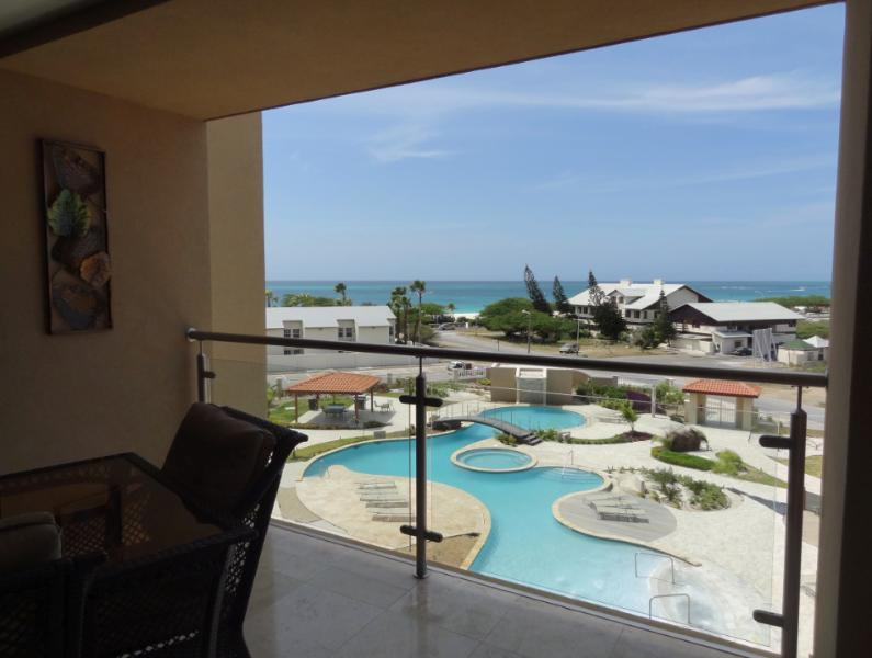 breathtaking views of pool and ocean from the terrace - Ocean views,across street from famous Eagle Beach - Palm/Eagle Beach - rentals