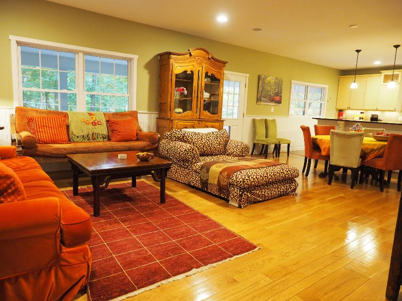"""The open plan living room has overstuffed sofas and a warm friendly atmosphere - Luxury 5 BDRM Hot Tub 80"""" TV Tempur-Pedic beds XM - Washington DC - rentals"""