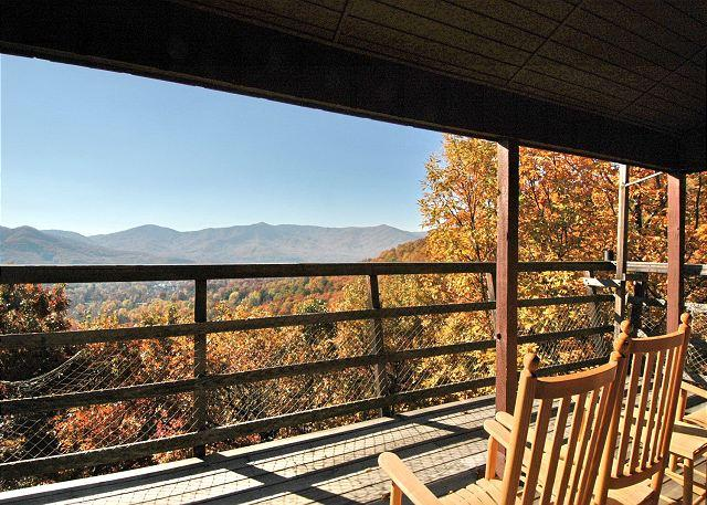 Deck and View from house - Aslan's Pause - Montreat - rentals