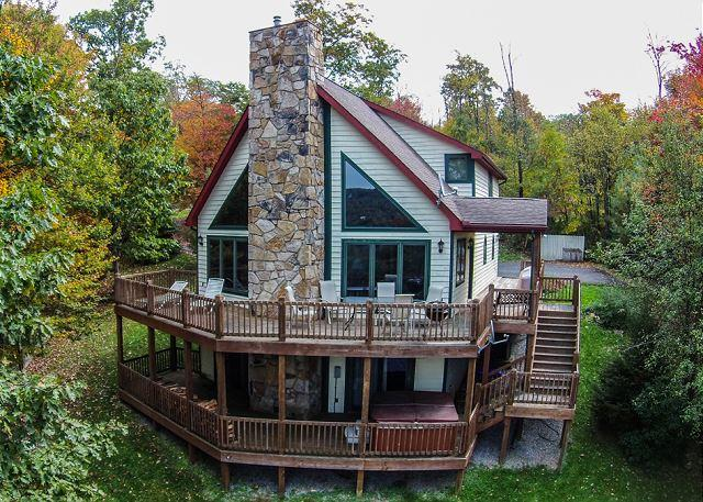 Exterior - Gorgeous 4 Bedroom Mountain Log home w/ Hot Tub & Stunning Views! - McHenry - rentals