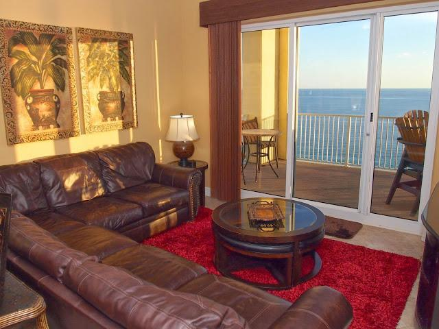 Living Area with Beach front view! - Breath-taking 4/3 Beach Front Condo at Ocean Reef! - Panama City Beach - rentals