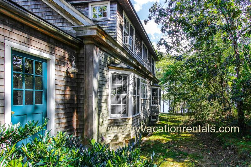 Side of House and Lagoon Beyond - MCCUT - Lagoon Front, Waterfront, Walk to Town, Wifi Internet AC All Bedrooms - Vineyard Haven - rentals