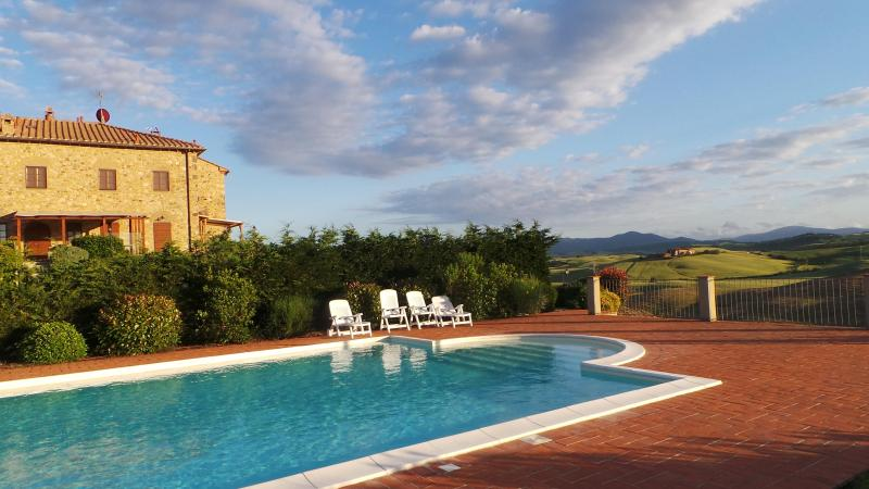 Poolside at sunset - Beautiful apartment, Tuscan countryside.  Sleeps 8 - Pisa - rentals