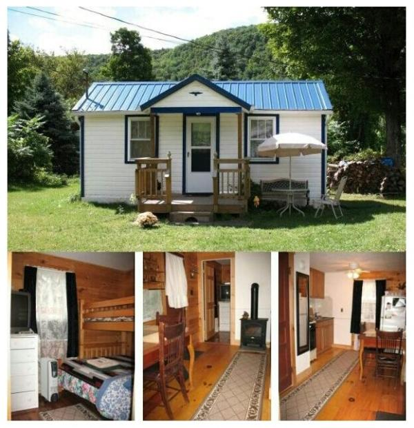 Outside and inside view - Catskill Bungalow, Cozy Getaway Cabin for up to 3 - Windham - rentals