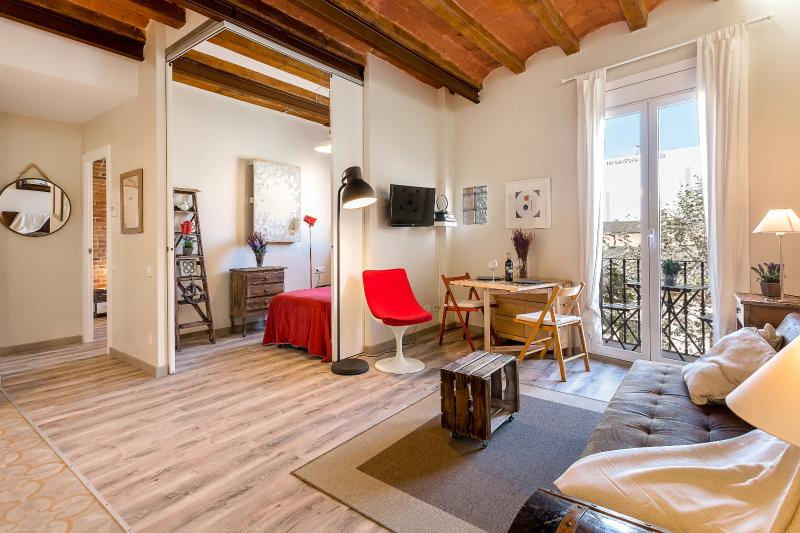 Living room with balcony and 2nd bedroom - Vintage Suite with Balcony 2 (1BR) - MID TERM RENTALS - Barcelona - rentals