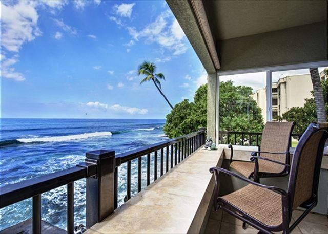 Watch Surfing from your Ocean Front Lanai - Ocean Front! Watch Surfers and Dolphins from The Banyan Tree Condo  #200A - Kailua-Kona - rentals