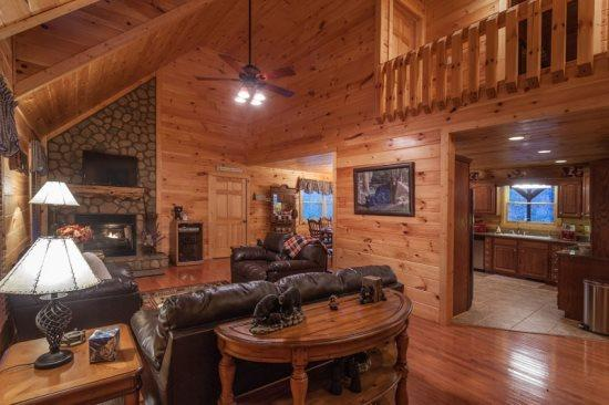 Great Room with a gas Fireplace and a flat screen TV - Bearadise Lodge - Blue Ridge GA - Blue Ridge - rentals
