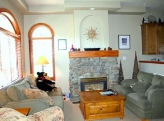 Living Room with Gas Fireplace - Powder Ridge Townhouses - 05 - Sun Peaks - rentals