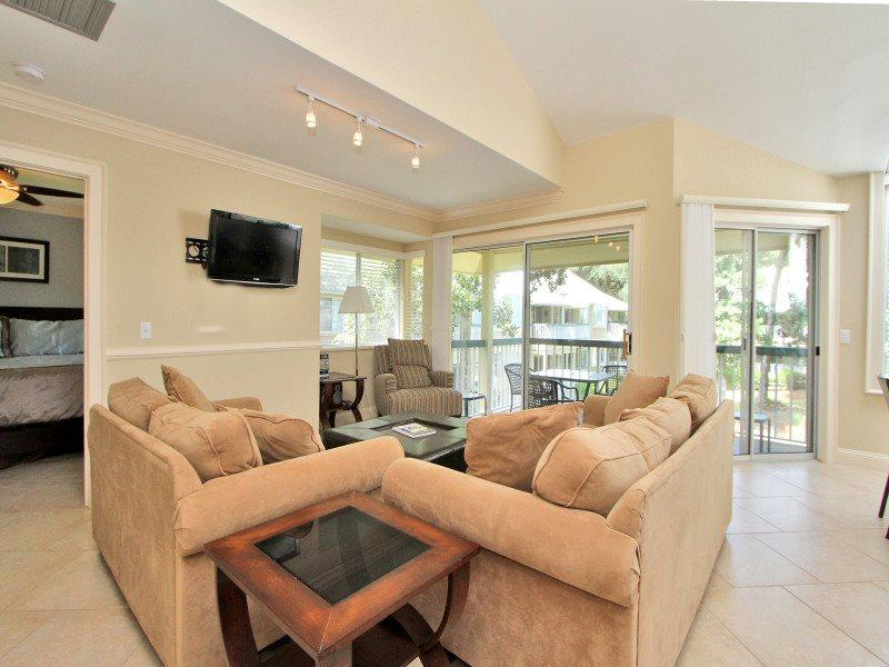 Living Room with Flat Screen at 711 Barrington Park - 711 Barrington Park - Palmetto Dunes - rentals
