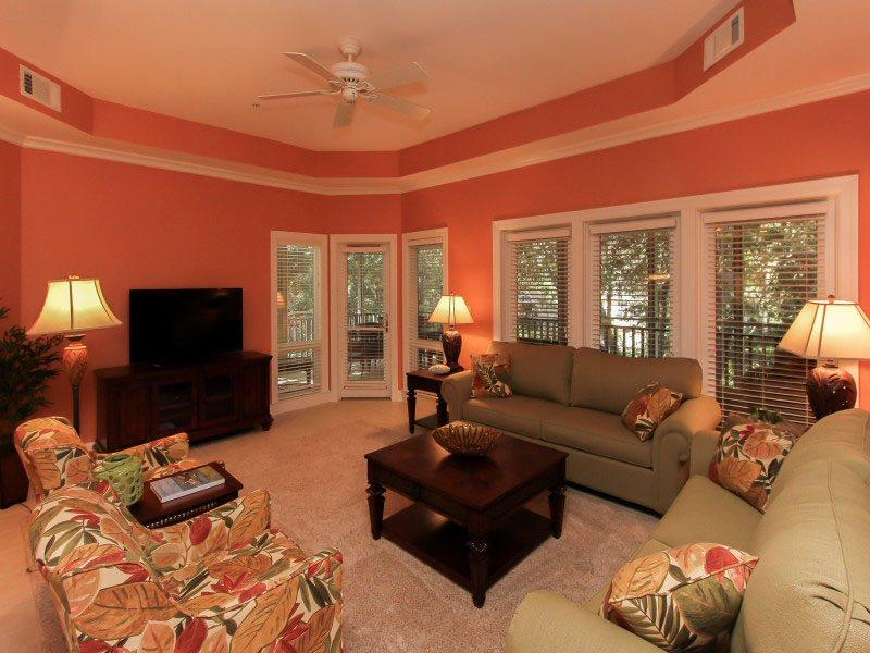 Living Room with Screened in Porch Access at 8134 Wendover Dunes - 8134 Wendover Dunes - Forest Beach - rentals