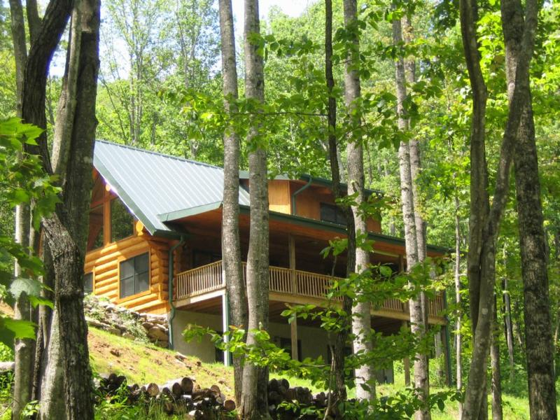 Old Mountain Cabin ~ Exterior - Old Mountain- Sit A Spell & Relax in the 6 Person Hot Tub, Shoot Pool or Lounge on the Deck - Edneyville - rentals