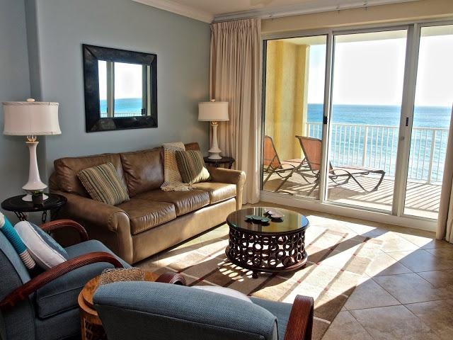 Living Area with direct view of the Gulf - NEW! Directly on the BEACH, 2/2 at Ocean Reef! FREE Bch Svc. - Panama City Beach - rentals