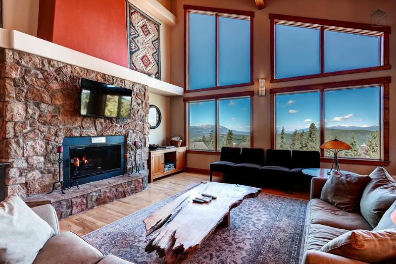 The main level great room is the place to see spectacular views of the mountains to the north.  - Spacious mountain home with amazing views, hot tub, free shuttle  (amazing views, free shuttle) - Sundara Place - Breckenridge - rentals