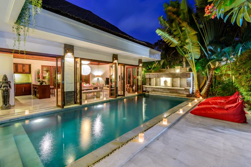 Villa Menari, Pool area by night, swim day or night in your own private pool - VILLA MENARI - 24 HR SECURITY, GREAT VALUE, EASY WALK TO FAMOUS 'EAT STREET' - Seminyak - rentals